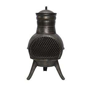 La Hacienda Squat Chiminea Steel Bronze