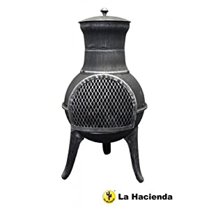La Hacienda Steel Squat Pewter Effect Patio Heater