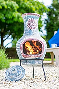 La Hacienda Swirl Clay Chimenea Blue And Red Small Chimnea