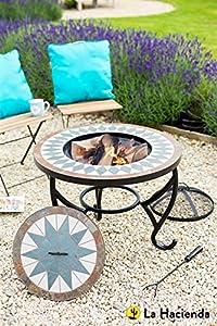La Hacienda Tiled Firepit Table With Grill Centre Lid from La Hacienda