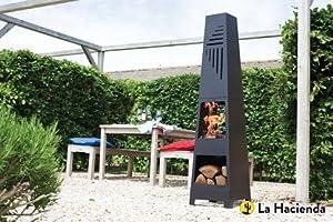 La Hacienda Vela Black Steel Garden Chiminea With Laser Cut Design 150cm High from La Hacienda