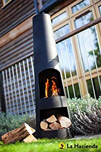 La Haciender 125cm Tall Circo Modern Black Garden Chiminea from Worldstores