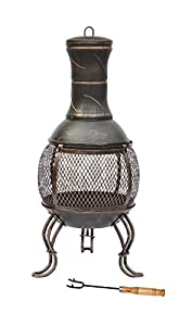 Lado Large Bronze 89cm Large Open Bowl Mesh Cast Iron Chiminea Patio Heater Black Bronze by Lado