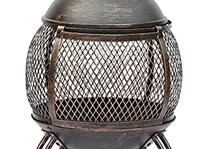 Lado Large Bronze Deluxe Cast Iron Heater Bbq Mesh Design Steel Chimenea by Lado