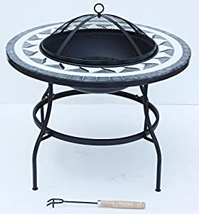 Lado Large Round Mosaic 63cm Fire Pit Table Metal Legs Bowl Patio Si-bbq3 Garden Pit Barbecue Party from Lado