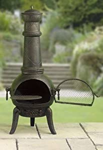 Large 125cm Black Cast Ironsteel Chiminea Bbq With Swing Out Grill by La Hacienda