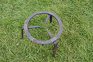 Large 33cm H Wrought Iron Trivet - Fire Pit - Garden Trivet Handmade from Round Wood Trading