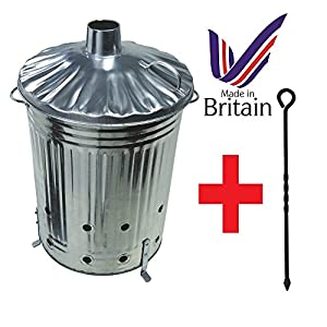 Large 90 Litre Incinerator Burning Fire Bin Rubbish Paper Leaves Burner With Poker from uk