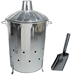Large 90l Galvanised Steel Incinerator Burning Fire Bin Ideal For Burning Rubbish Paper Leaves Documents Free Shovel by S&MC Gardenware