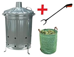 Large 90l Garden Incinerator Burning Fire Bin Pit Waste Burner Free Reusable Bag Rubbish Grabber by S&MC Gardenware