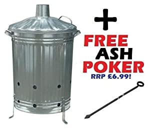 Large 90l Incinerator Burning Fire Bin Ideal For Burning Rubbish Paper Leaves Burner Free Poker by S&MC Gardenware