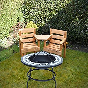 Large Black Bbq Outdoor Firepit Heater Mosaic Si Bbq3 Garden Coffee Table Patio Stove Chimenea