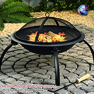 Large Black Fire Pit Steel Folding Outdoor Garden Patio Heater Brazier Stove Grill Camping Bowl Bbq With Poker Grate Grill Large56x42cm from Denny International®