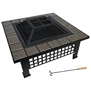 Large Black Outdoor Garden Mosaic Design Fire Pit Burning Brazier Square Patio by Marko