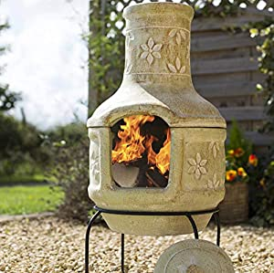 Large Clay Flowers Pizza Chiminea Chimenea With Bbq Grill Patio Heater Wood Burner