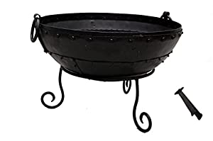Large Iron Indian Recycled Kadai Fire Bowl 60cm Diameter Fire Pit Ideal As A Log Burner And Barbeque by Homescapes