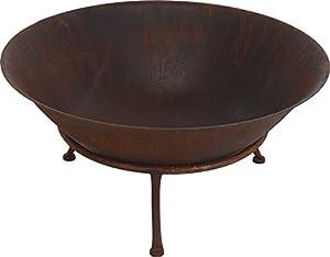Large Metal Rust Finish Garden Fire Pit Basket Patio Heater Log Wood Charcoal Burner Brazier 75cm Diameter by Gardening-Naturally