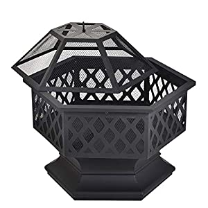 Leisure Zone Outdoor Large Fire Pit For Garden And Patio Upgrade Black Steel Garden Heaterburner For Wood Charcoal Includes Spark Guard Poker And Protective Cover Hexagonal Fire Pit by Leisure Zone