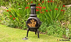 Lisbon Medium Black Cast Iron Chimenea by La Hacienda