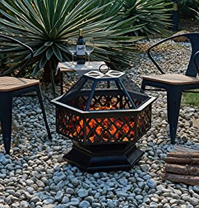 Livivo Hexagonal Fire Pit - Outdoor Oil Rubbed Bronze Patio Fire Pit With Spark Guard Poker Stick Fireplace Tool Accessory - Garden Fireplace Heater Ideal For Camping Bbq Picnics Holiday Festivals Heater For Logs Charcoal Or Log Burner With Mesh Screen fr