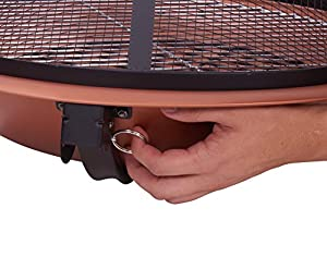 Livivo Large Round Copper And Black Folding Outdoor Fire Pit Bowl For Garden Camping Bbq Picnics Holiday Festivals Beach Heater Log With Mesh Splash Guard Screen Grill And Bbq Poker Tool - Comes With Firepit Protective Storage Carry Bag from LIVIVO