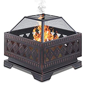 Livivo Lattice Design Fire Pit Brazier With Mesh Spark Guard Bbq Grill Insert And Metal Fire Poker Iron Weather And Rust-resistant 25 Square by LIVIVO