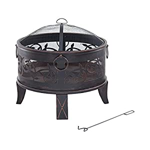 Livivo Lattice Design Fire Pit Brazier With Mesh Spark Guard Bbq Grill Insert And Metal Fire Poker Iron Weather And Rust-resistant 26 Round from LIVIVO