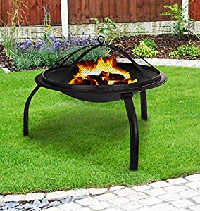 Livivo Round Folding Outdoor Patio Fire Pit For Garden Camping Bbq Picnics Holiday Festivals Heater Log With Mesh Screen And Wooden Bbq Tool from LIVIVO ®