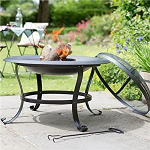 Livivo Round Outdoor Patio Fire Pit With Spark Guard Poker - Outdoor Fireplace Heater For Garden Camping Bbq Picnics Holiday Festivals Heater For Logs Charcoal With Mesh Screen by LIVIVO ®