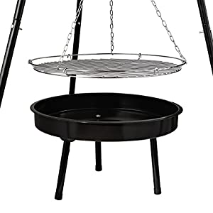 Livivo Tripod Round Bbq Outdoor Barbeque Charcoal Cooking Grill Portable - Hanging Firepit Barbecue Stand Camping Picnic Outfire Wood Log Burner Heater Outdoor Stove Prefect For Garden Patio Dining - Also Makes Beautiful Centre Piece Decortaion from LIVIV