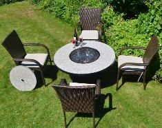 Low Tudela Fire Pit Table With 4 Castello Chairs by Europa Leisure