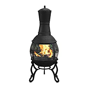 Mari Garden - Aragon 89cm Black Cast Iron Chimenea Fire Pit Patio Heater With Bbq Grill And Rain Cover Chiminea Chimnea Incinerator Log Wood Burner by Mari Garden