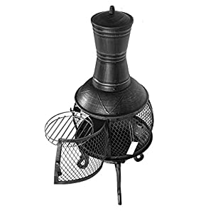 Mari Garden - Aragon 93cm Black Cast Iron Chimenea Fire Pit Patio Heater With Bbq Grill And Rain Cover Chiminea Incinerator Log Wood Burner from Mari Garden