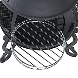 Mari Garden Aragon Black Cast Iron Chiminea Included Bbq Grill Rain Cover Poker All-in-one Chimney Patio Heater Rooftop Fire Pit Garden Incinerator Perfect For Backyard Gatherings by Mari Garden