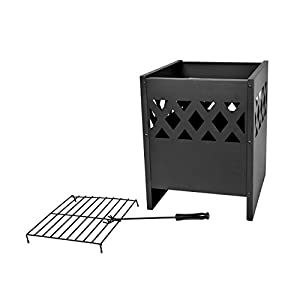 Mari Garden - Avila Modern Black Steel Square Fire Basket Pit With Rain Cover Incinerator Log Wood Burner Rectangular Chiminea Patio Heater Outdoor Chimnea Chimenea by Mari Garden