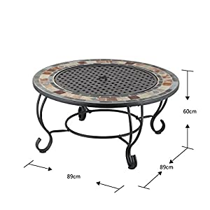 Mari Garden - Borja 89cm Round Outdoor Garden Tiled Slate Coffee Table And Fire Pit With Chrome Bbq Grill Mesh Lid And Rain Cover Incinerator Log Wood Burner Patio Heater Chimnea Chimenea by Mari Garden