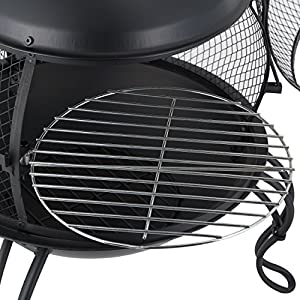 Mari Garden Ronda Black Steel Chiminea Included Chromed Bbq Grill Log Grate Poker All-in-one Chimney Patio Heater Rooftop Fire Pit Garden Incinerator Perfect For Backyard Gatherings from Mari Garden