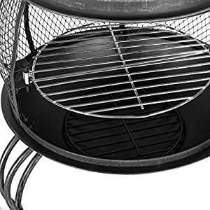 Mari Garden - Ronda Xxl 169cm Black Steel Chimenea Fire Pit Patio Heater With Bbq Grill Chiminea Chimnea Chimney Incinerator Log Wood Burner Brazier Outside Outdoor Fireplace from Mari Garden