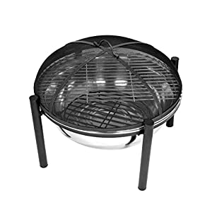 Mari Garden - Salou 63cm Camping Fire Pit Bowl With Chrome Bbq Grill Mesh Lid And Rain Cover Incinerator Log Wood Burner Garden Patio Heater Chimnea Chimenea Outdoor from Mari Garden