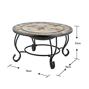Mari Garden - Tudela 76cm Round Outdoor Garden Tiled Slate Coffee Table And Fire Pit With Chrome Bbq Grill Mesh Lid And Rain Cover Incinerator Log Wood Burner Patio Heater Chimnea Chimenea from Mari Garden