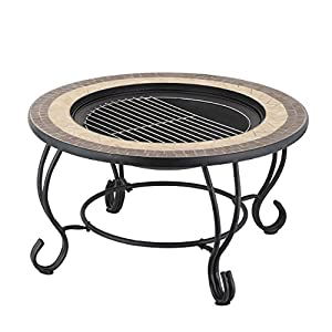Mari Garden - Vigo 76cm Round Outdoor Garden Mosaic Coffee Table And Fire Pit With Chrome Bbq Grill Mesh Lid And Rain Cover Incinerator Log Wood Burner Patio Heater Chimnea Chimenea by Mari Garden