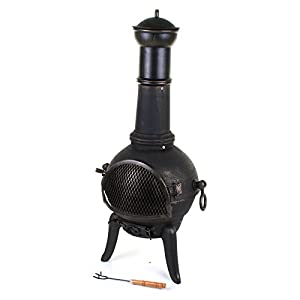 Marko Outdoor 112cm Garden Cast Iron Steel Chimenea Chiminea Chimnea Patio Heater Fire Pit Black by Marko