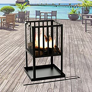 Marko Outdoor Fire Pit Square Black Metal Steel Patio Heater Log Wood Burner Outdoor Basket by Marko