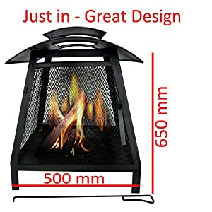 Marko Outdoor Wichita Chimenea Outdoor Garden Patio Heater Chimnea Square Wood Burner Steel Chiminea by Marko