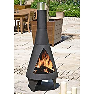 Medium 125cm High Black Steel Colorado Chiminea Patio Heater