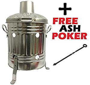 Mini Garden 15l Litre Galvanised Incinerator Small Fire Bin - Ideal For Burning Paper Leaves Wood Rubbish Free Ash Poker