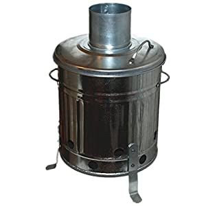 Mini Garden 15l Litre Galvanised Metal Incinerator Small Fire Pit Bin - Ideal For Burning Paper Documents Leaves Wood Rubbish Free Mini Rubbish Grabber
