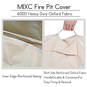 Mixc 91cm Round Fire Pit Cover Waterproof Heavy Duty 600d Thick Large Deluxe Oxford Weather Resistant Protective Outdoor Fire Bowl Cover Air Vents Elastic Hem Uv Protected Garden Bbqs Patio Sets by MIXC