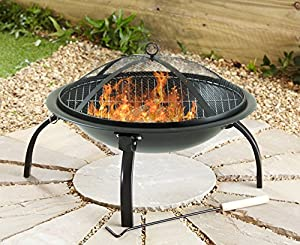 Neotechs Large Black Fire Pit Folding Steel Bbq Camping Garden Patio Outdoor Heater Burner Comes With Free Carry Case And 2 Piece Marshmallow Roaster Sticks from Neo