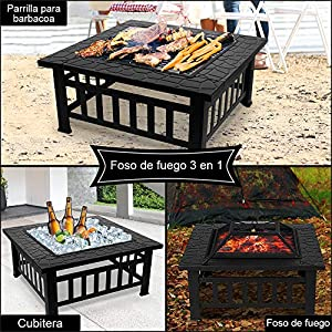 Nidouillet Fire Pit Bbq Courtyard Patio Square Metal Fire Stove Barbecue Grill With Waterproof Cover For Outdoor Campingpicniccookingfestivals Ab009 from Nidouillet